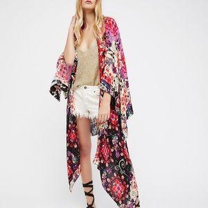 Free People Winged Mix Print Cut Out Kimono
